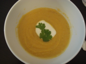 Four root and coriander soup
