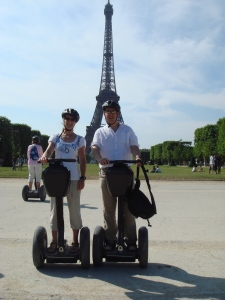 Riding Segways at the Eiffel tower