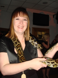 Woman holding a snake