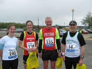 Me, Lisa and Dave at the end of the Tees Barrage 10k