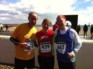 Jeff, Lesley and Stephen at the finish of the Pier to Pier