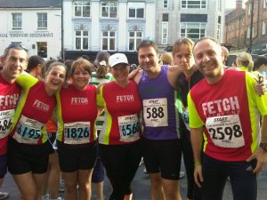 A gathering of Fetch runners at the start of Blaydon Race