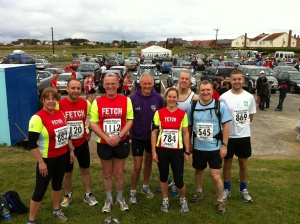 Runners line up at the start of the Northumberland Coastal Run