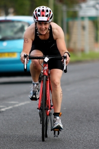 Me on my bike at Hebburn triathlon