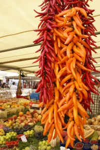 Chillies on a market stall
