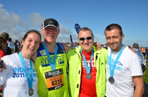 Me, Al, Paul and Mark at the finish of Great North Run 2011