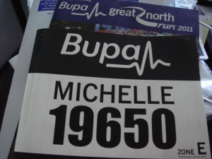 My Great North Run 2011 number - 19650