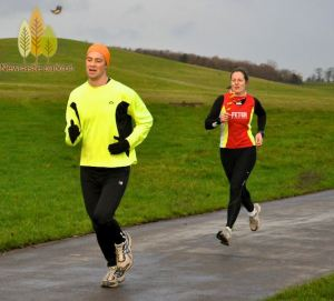 Me running for the finish at the 100th Newcastle parkrun
