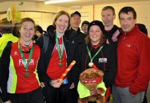 The Fetch relay team for the 100th Newcastle parkrun