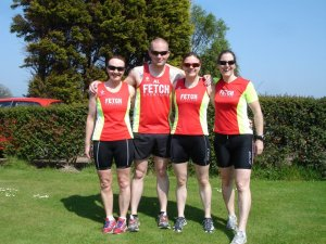 Me and my friends in our Fetch running gear