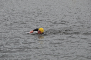 Me swimming in the lake at the QE2 triathlon