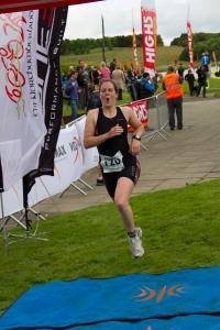 Finishing the Northumberland Sprint triathlon