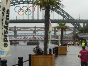 Tyne Bridge with the Olympic rings