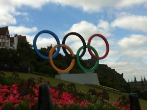 Olympic rings on the Mound in Edinburgh