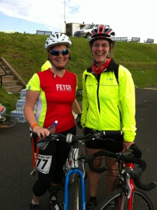 Me and Karen at the finish of the Great North Bike Ride