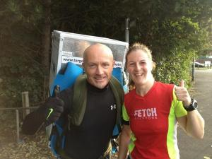 Me and Tony the Fridge on Day 20 of his Great North Run challenge