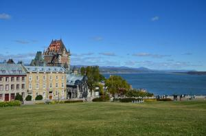 View of the St Lawrence river and Chateau Frontenac from the Plains of Abraham in Quebec