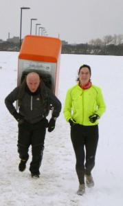Tony the Fridge and me at Newcastle parkrun 20 January 2013