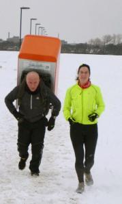 Tony the Fridge and me at Newcastle parkrun 20 January 2013