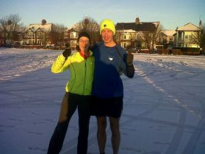 Me and Jeff at my 50th parkrun at Whitley Bay