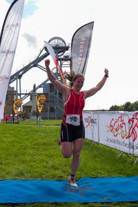 Me finishing the triathlon