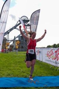 Me finishing the triathlon