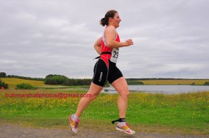 Running laps around the lake at Northumberland standard triathlon - photo courtesy of Bob Marshal