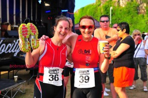 Me and Lesley - Castles Challenge Sprint triathlon 2013