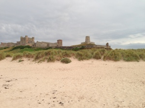 Beach and Bamburgh castle