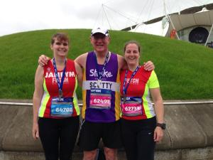 Janey, Scotty and me with our Edinburgh 10k medals