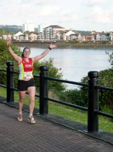 Me running along beside the Tyne