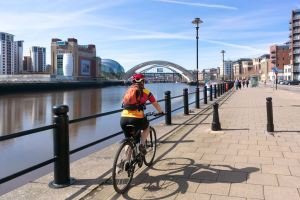 Cyclist on Newcastle's Quayside