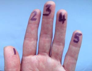 Hand with fingers numbered 1-5