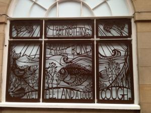 Decorative window poem in Edinburgh