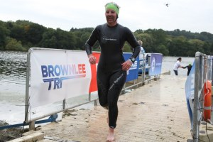 Me at the swim exit of Brownlee triathlon 2015