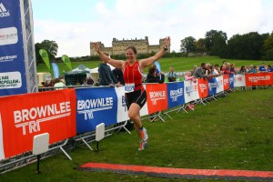 Me at the finish of the Brownlee triathlon 2015